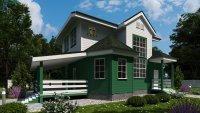 """Каркасный дом ЗПК-140 """"Зеленый луг"""", отделан под ключ, утепление=200мм"""