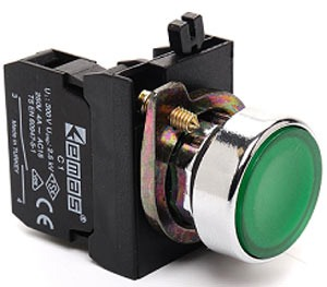 Кнопка нажимная круглая зеленая (2НО) IP65 металл