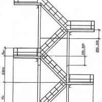 Стальная 4-маршевая эвакуационная лестница 3-го типа