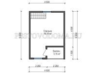 Дом из профилированного бруса с мансардой 6,0 на 6,0 метров