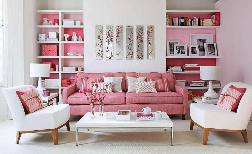 Сочетание розового и белого в интерьере