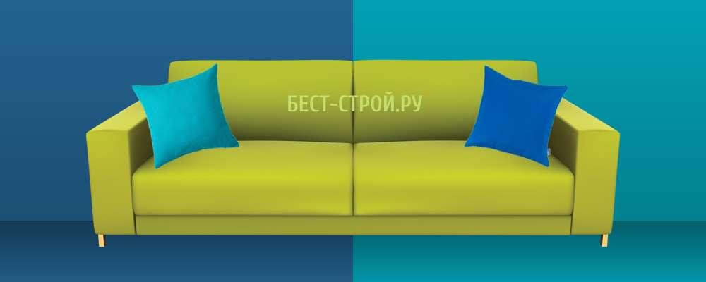 Сочетание зеленого дивана с синим и голубым цветом