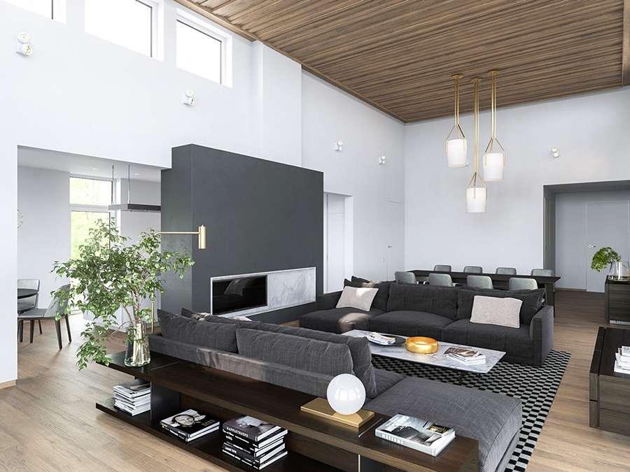 Современный интерьер гостиной в скандинавском стиле