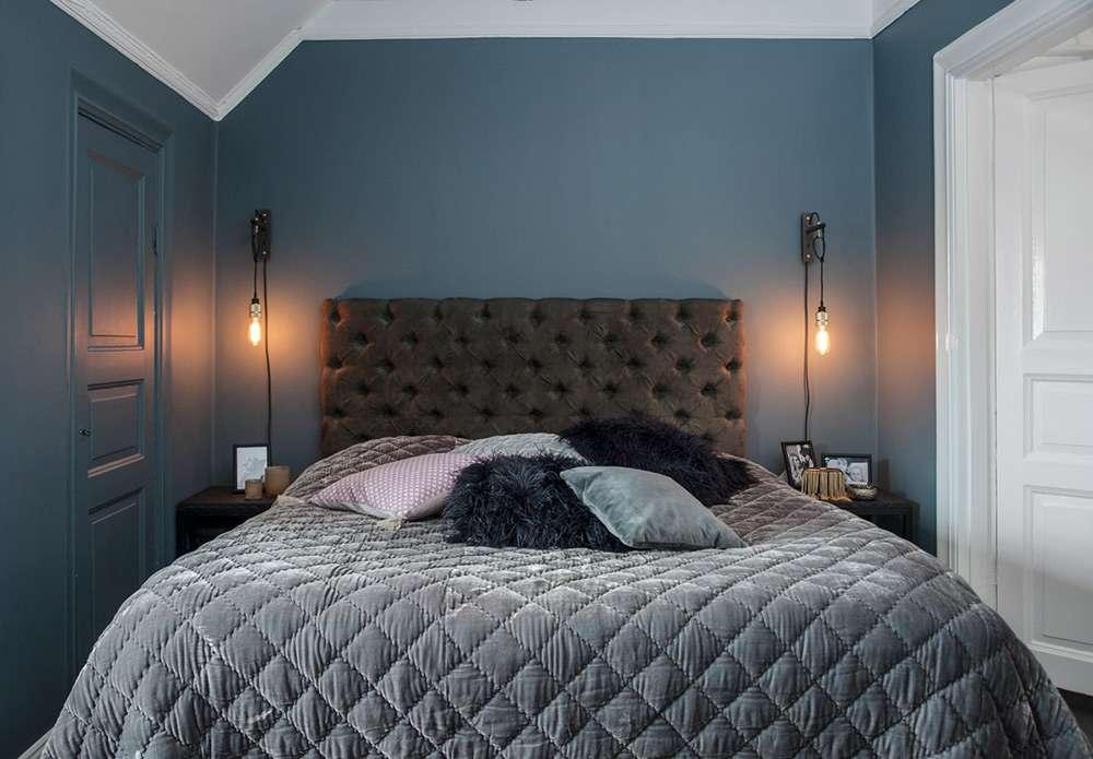 Интерьер спальни в стиле минимализм в сером цвете