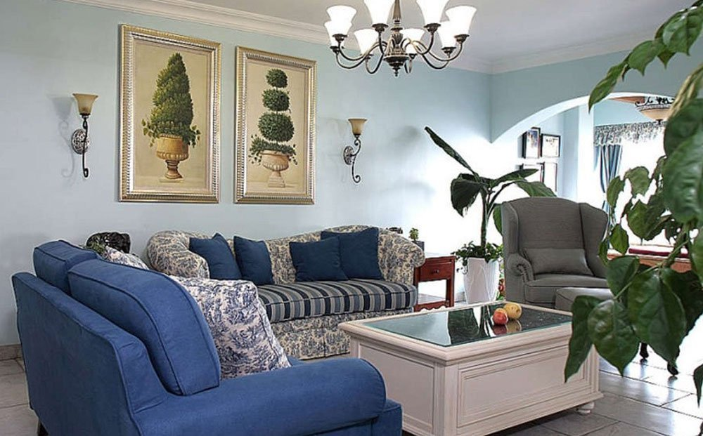 Сочетания голубого цвета в интерьере фото 35