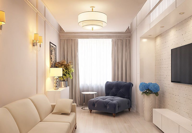 Дизайн узкой комнаты фото 9