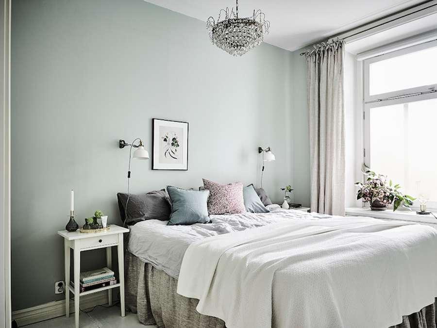 Пастельные тока в оформлении спальни в скандинавском стиле