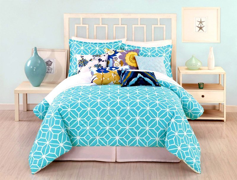 nautical-theme-bedroom-turquoise-grey-solid-color-duvet-cover-white-wooden-side-table-single-drawer-trina-turk-3-piece-trellis-duvet-set-starfish-printable-wall-art