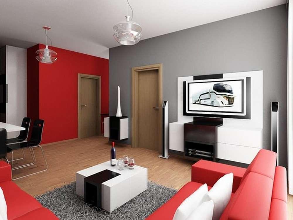 Сочетание красного и серого в интерьере в современном стиле