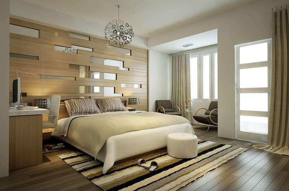 Оригинальная люстра и декор стен в современном стиле интерьеров спальни