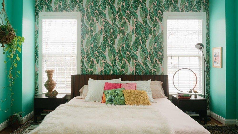 Сочетания зеленого цвета в интерьере спальни фото 5