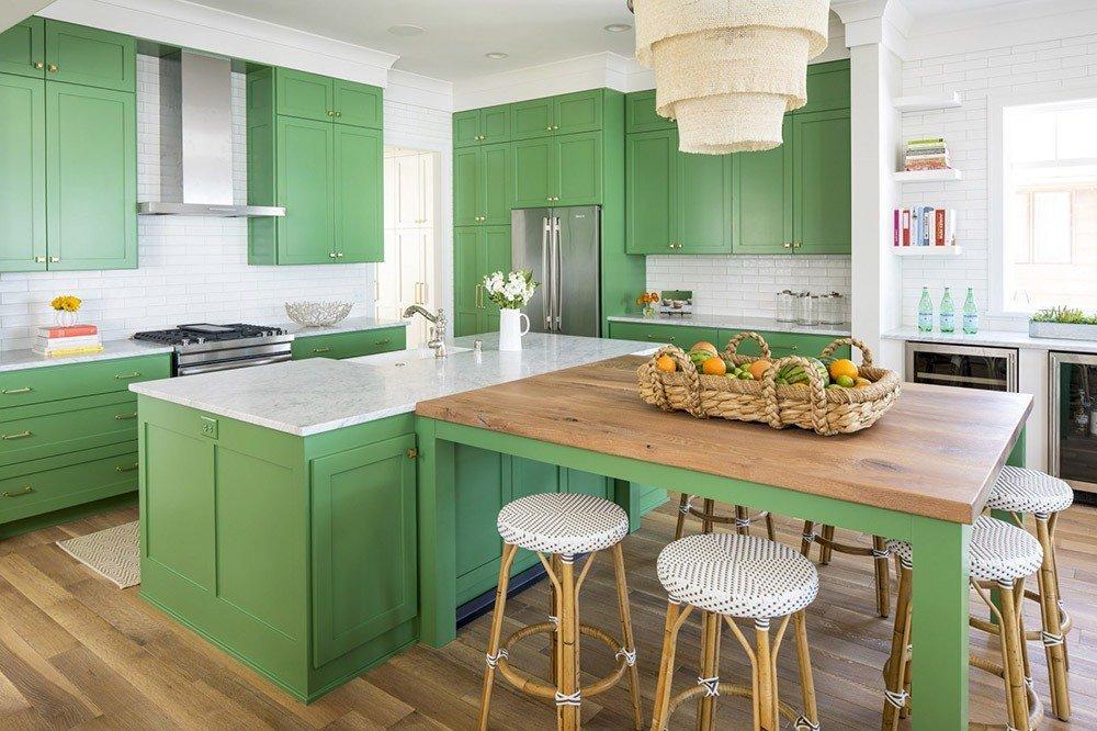 Сочетания зеленого цвета в интерьере кухни фото 3