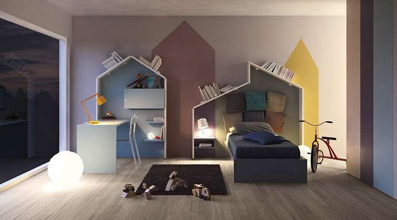 Интересный дизайн настенных полок для детской комнаты