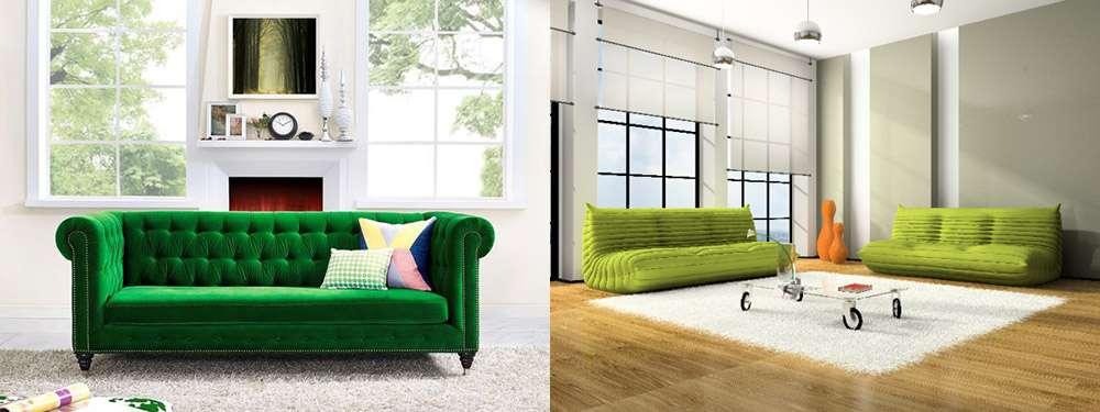 Зеленый диван в интерьерах в стиле минимализм