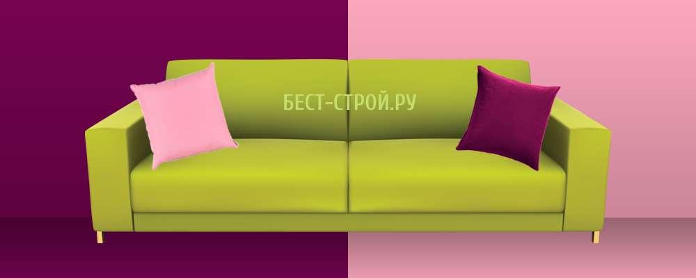 Сочетание зеленого дивана с фиолетовым цветом