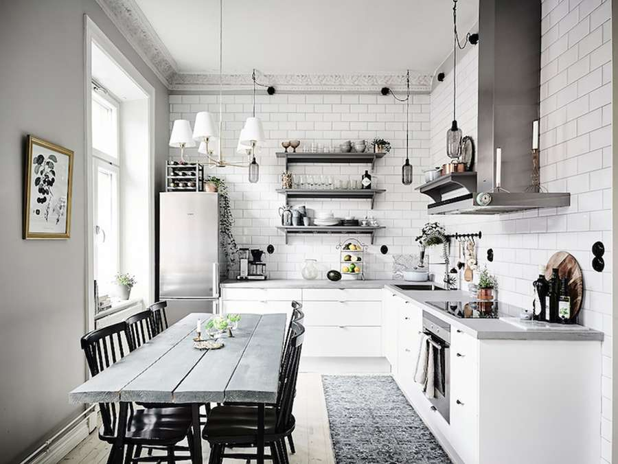 Классический пример интерьера кухни в скандинавском стиле