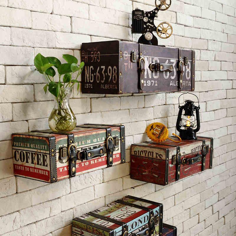 Старинные-искусственная-багажа-чемодан-живопись-ktv-декоративная-отделка-стен
