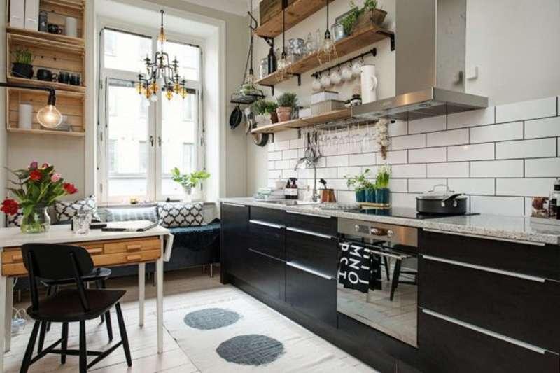 Использование черного цвета в скандинавском стиле в интерьере кухни