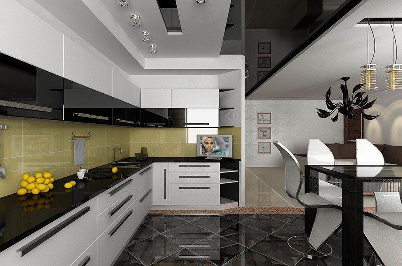 Черный потолок в интерьере кухни в стиле модерн