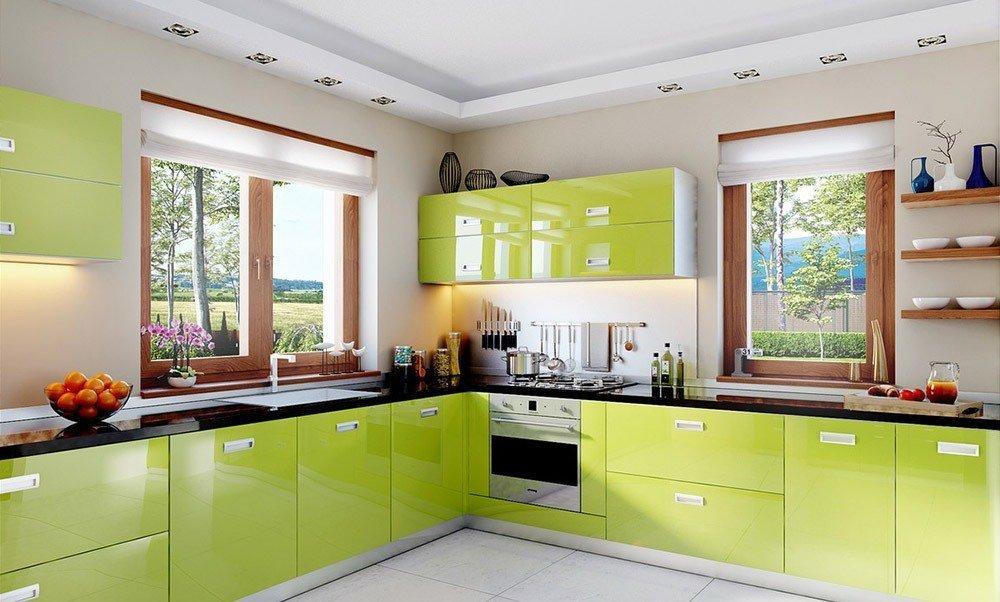 Сочетания зеленого цвета в интерьере кухни фото 1