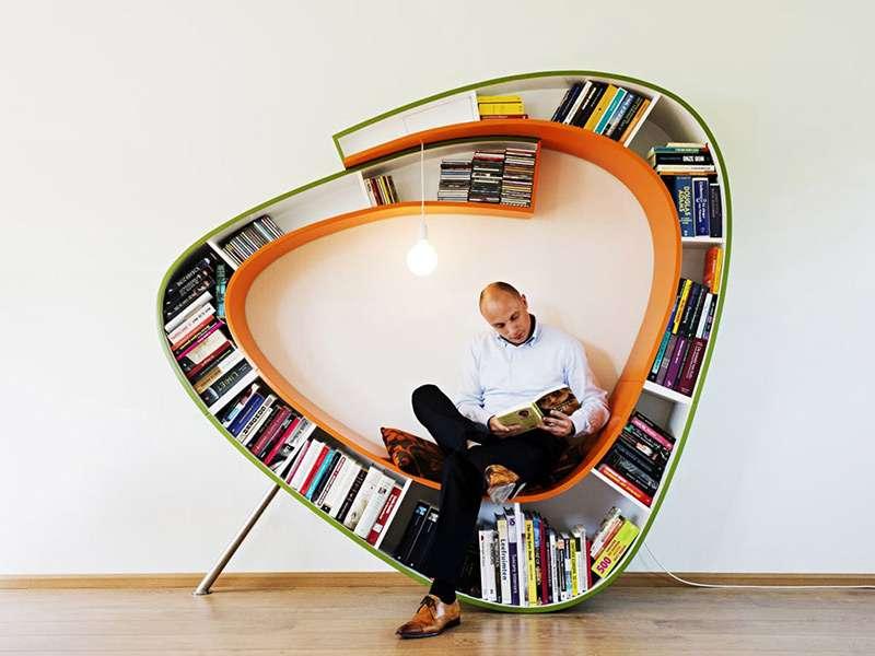 Оригинальный и интересный дизайн полок для книг