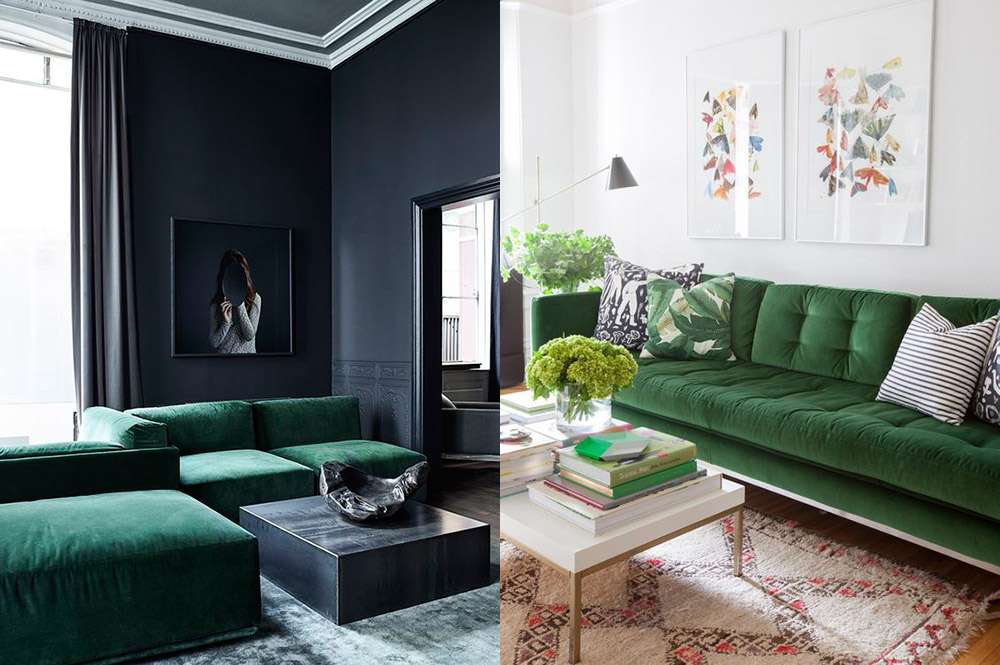 Диван красивого темно-зеленого цвета в современном интерьере