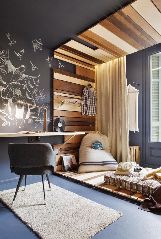 Дизайн узкой комнаты фото 10