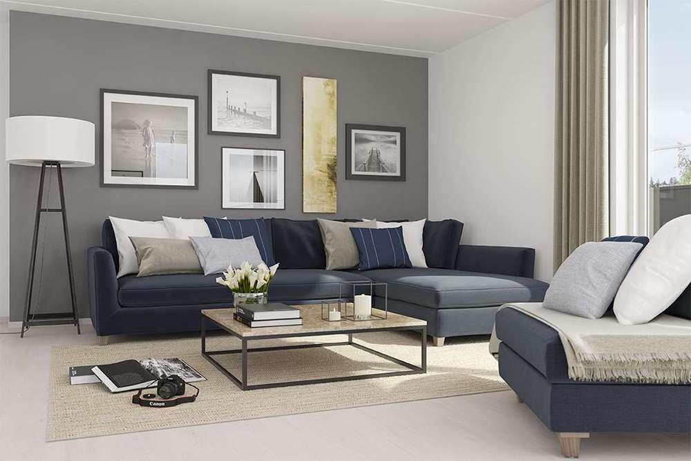 Стильное сочетание серого и глубокого синего цвета в интерьере гостиной