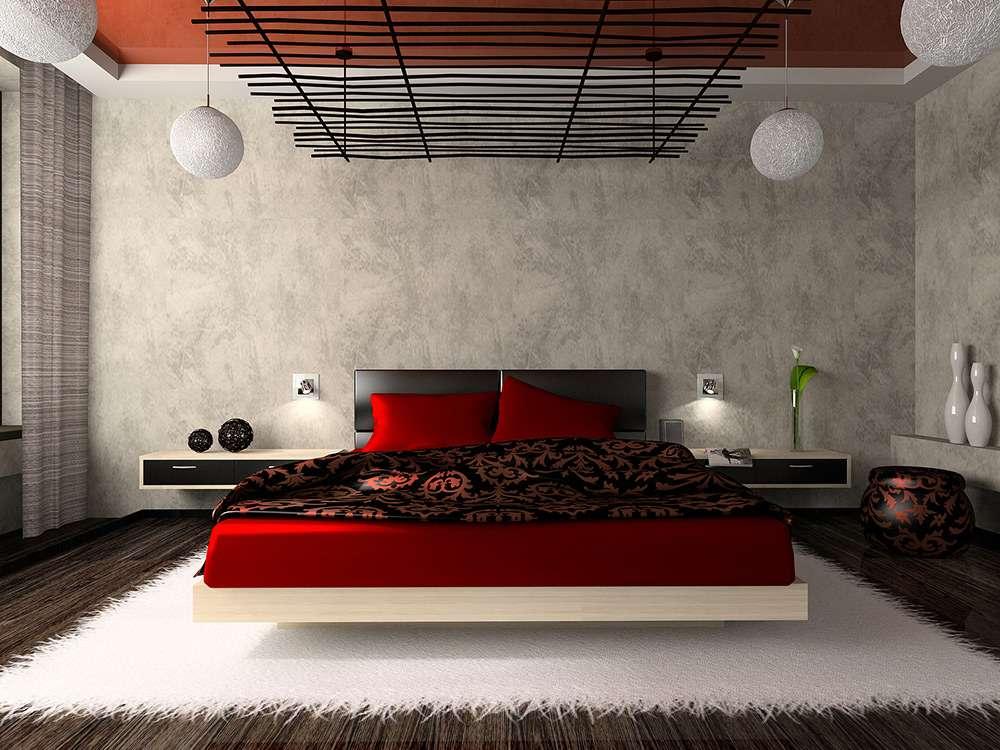 Красный - идеальный цвет для интерьера спальни в восточном стиле