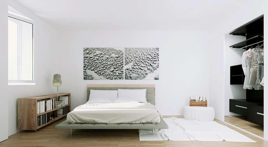 Оригинальные картины в интерьере спальни в скандинавском стиле