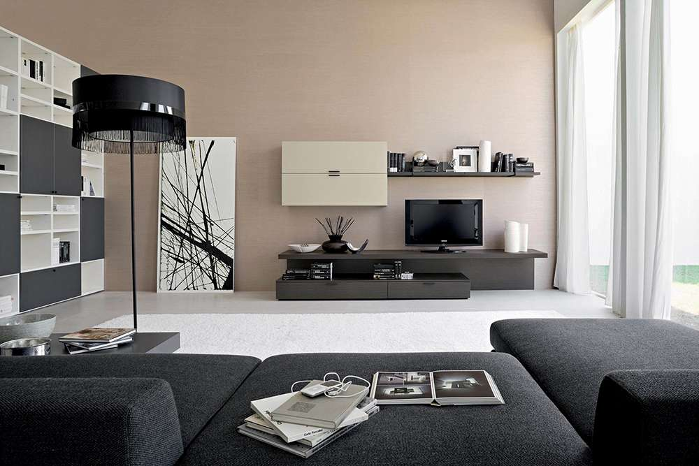 Сочетание светло-коричневого и серого в интерьере