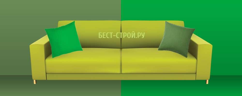 Сочетание зеленого дивана с декором интерьера зеленого цвета и его оттенков
