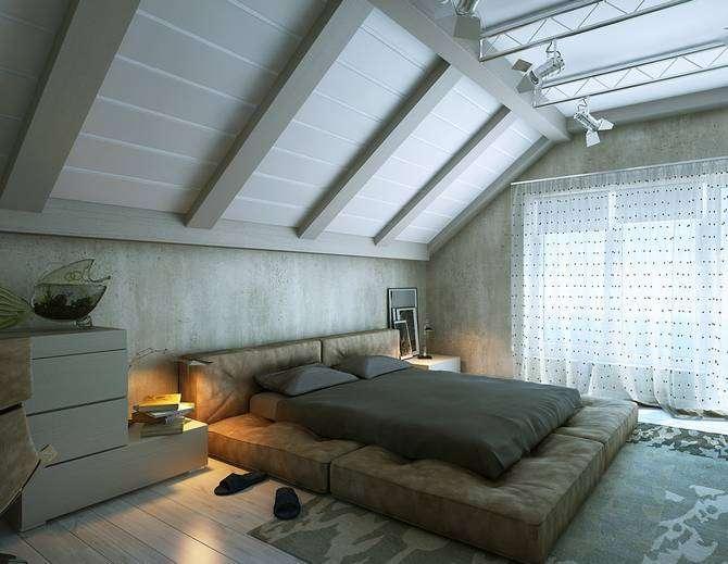 Использование балок в интерьере мансардной комнаты