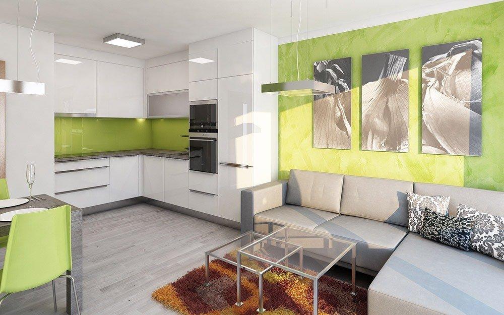 Сочетания зеленого и серого цвета в интерьере фото 2
