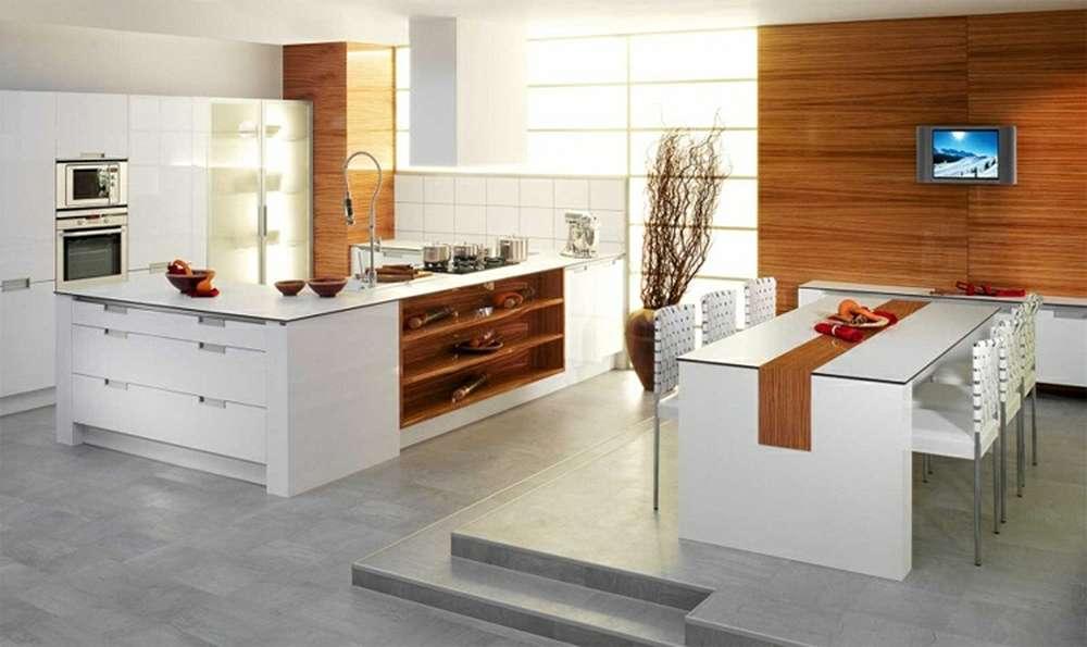 Серый пол на кухне в сочетании с бежевым