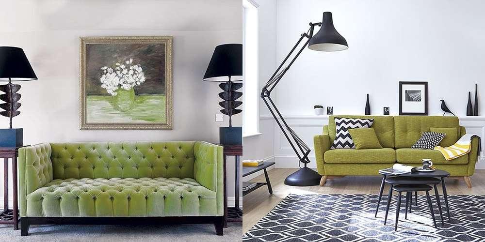 Зеленый диван и черная лампа - отличное сочетание