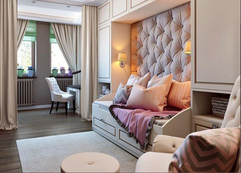 Дизайн узкой комнаты фото 12