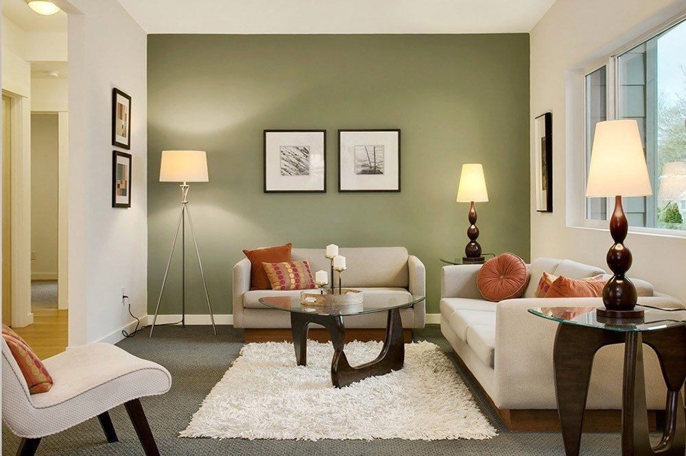 Сочетания зеленого цвета в интерьере гостиной фото 1