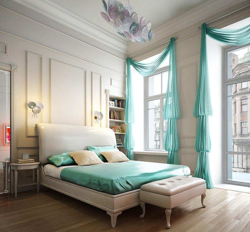 Яркие шторы гармонируют с интерьером