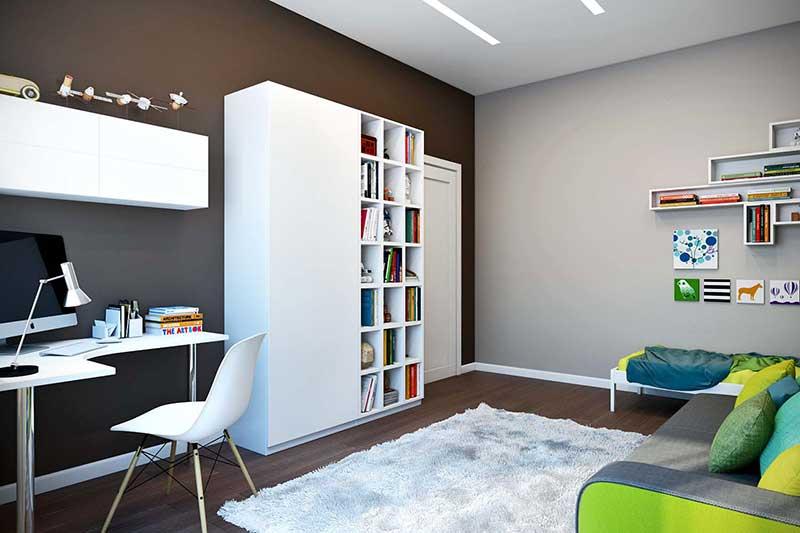 Зонирование комнаты при помощи разноцветных стен