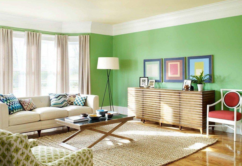 Сочетания зеленого цвета в интерьере в стиле кантри