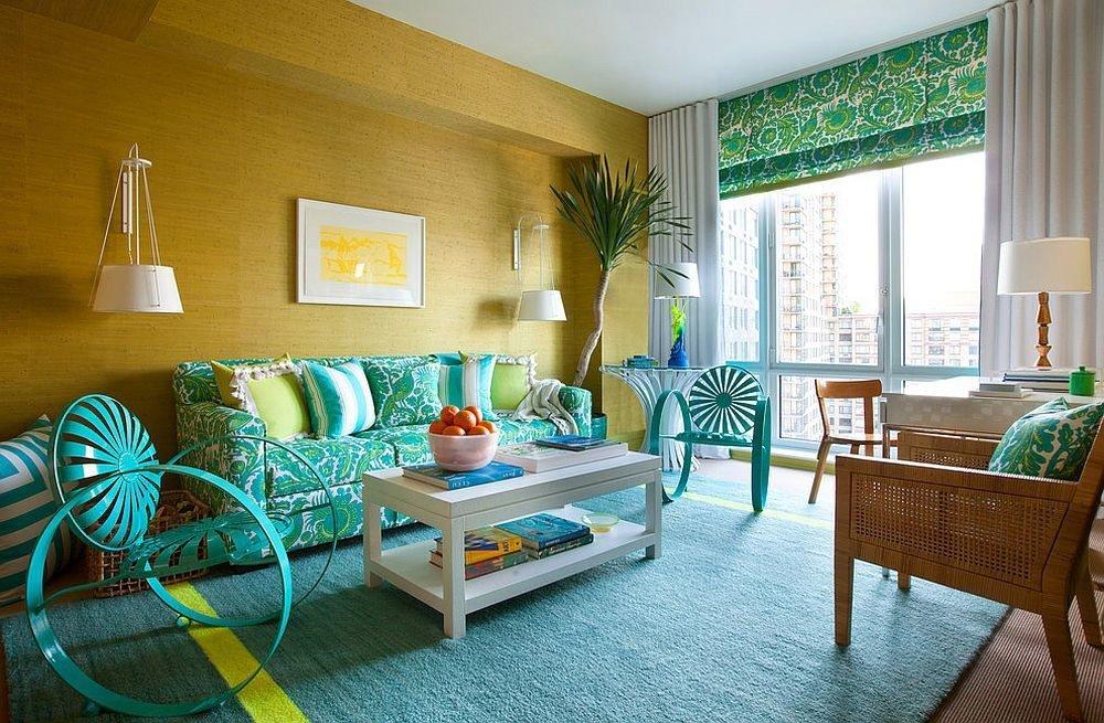 Сочетания зеленого цвета в интерьере в морском или пляжном стиле