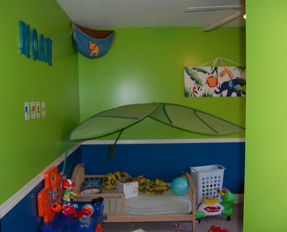 Сочетания зеленого и синего цвета в интерьере фото 1