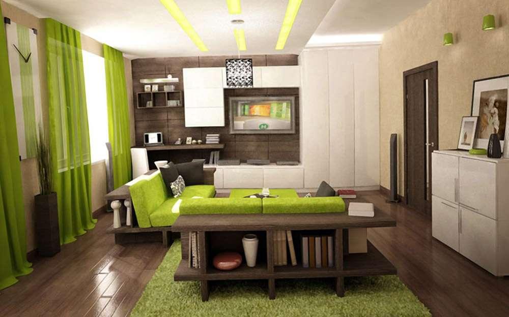 Диван ярко зеленого цвета в интерьере в стиле лофт