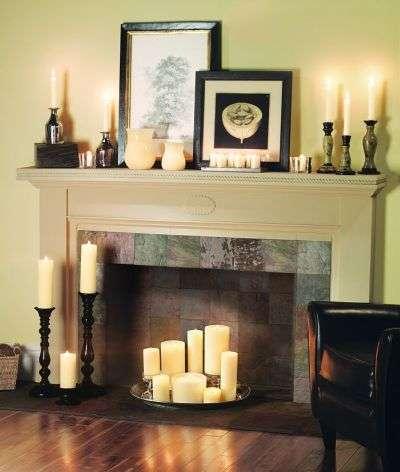 Использование свечей в фальш камине - идея для вашего комфортна