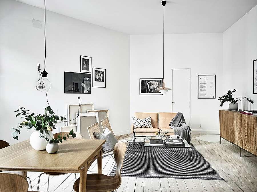 Плетеная мебель отлично вписывается в скандинавский стиль в интерьере