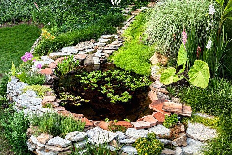 Декоративный пруд на даче фото 5