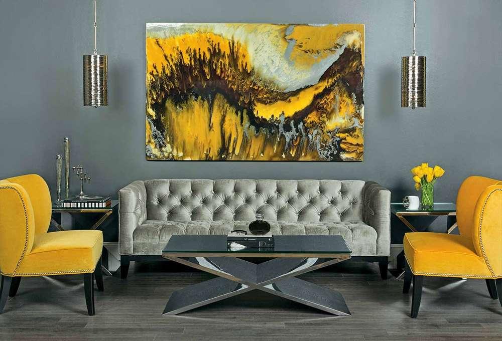 Сочетание желтого и серого цвета в интерьере