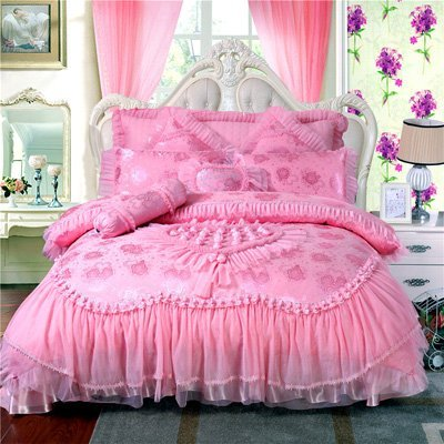 100-Satin-Jacquard-bedding-sets-Rose-Silk-Embroidery-wedding-bedding-set-romantic-pink-Princess-lace-bedding