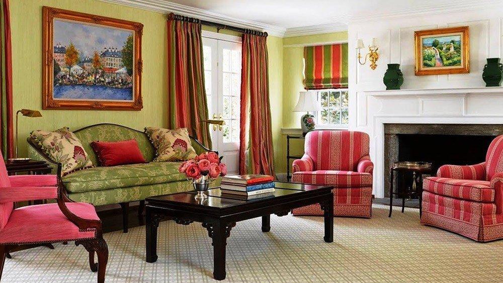 Сочетания зеленого и красного цвета в интерьере фото 2